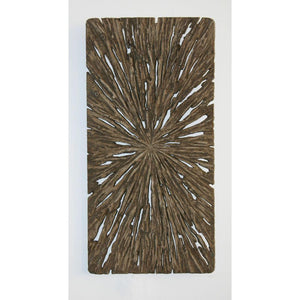 Brown Long Square Rotten Wood Wall Decor (12 X 24 X 2 In)