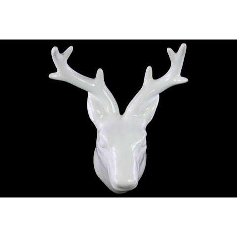 Well- Crafted Ceramic Deer Head Wall Decor- White