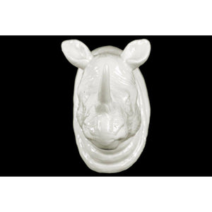 Ceramic Rhino Head Wall Decor Gloss Finish - White
