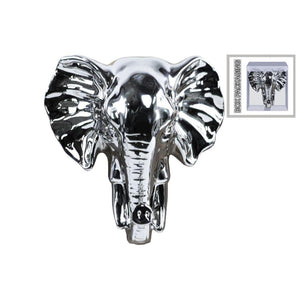 Ceramic Elephant Head Wall Decor - Silver