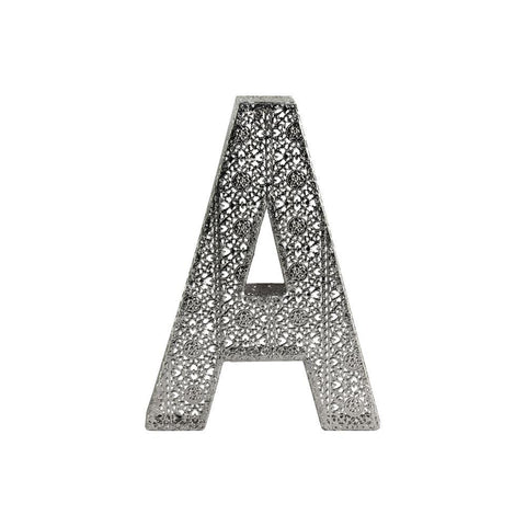 "Alphabet Wall Decor Letter ""A"" - Pierced Metal Design Large - Silver"