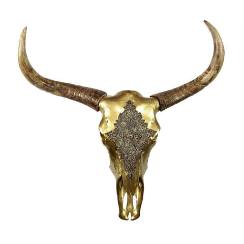 Impressive Polyresin Bull Head Wall Decor