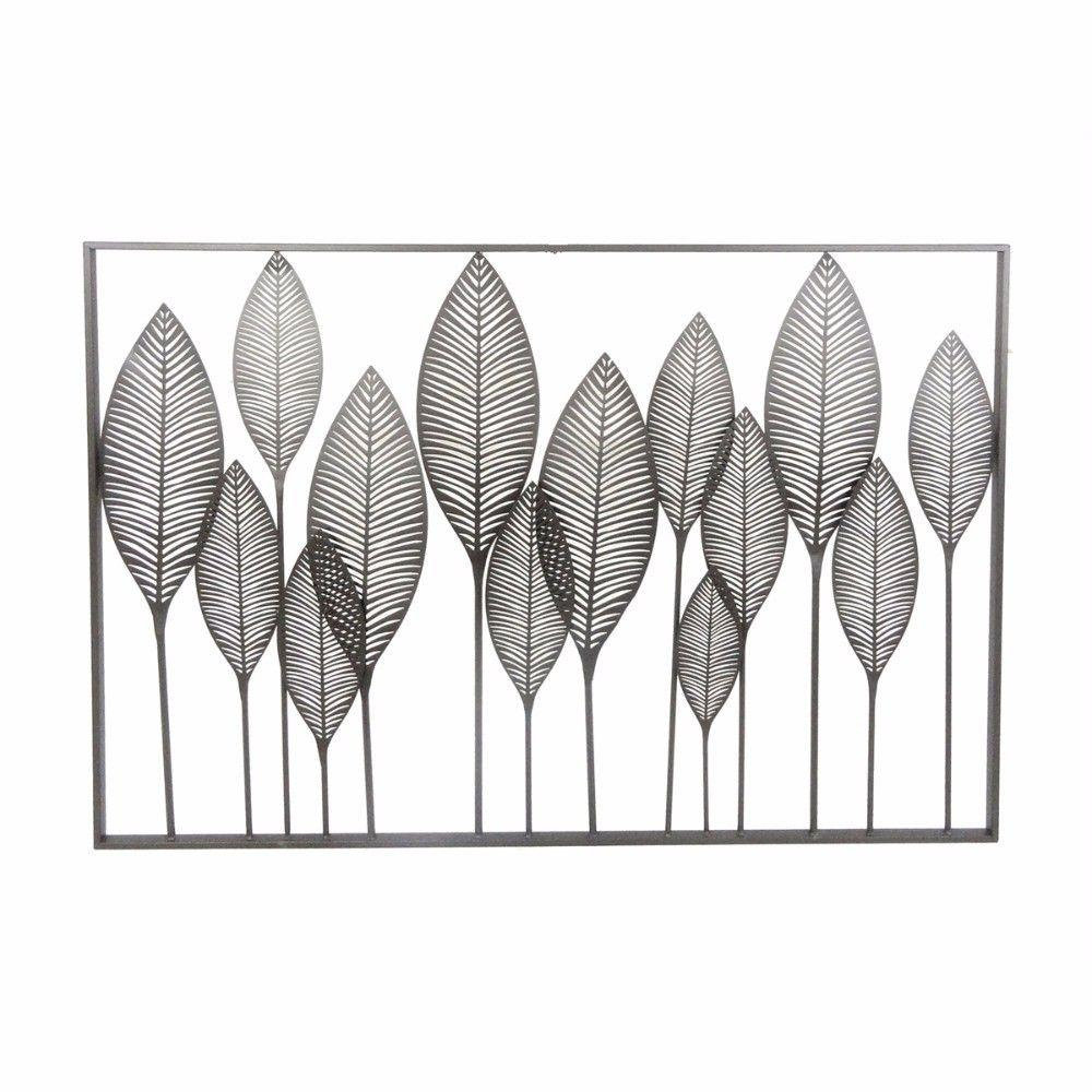 Fine Looking Modern Leaves Metal Wall Decor, Black