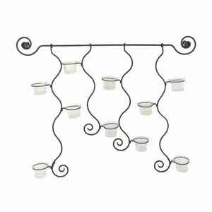 Window Box Glass And Metal Candle Holder Wall Decor, Black
