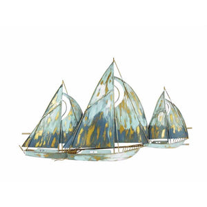 Metal Sailboats Wall Decor, Blue