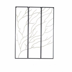 Metal Branch Wall Decor, Set Of 3, Black And Silver