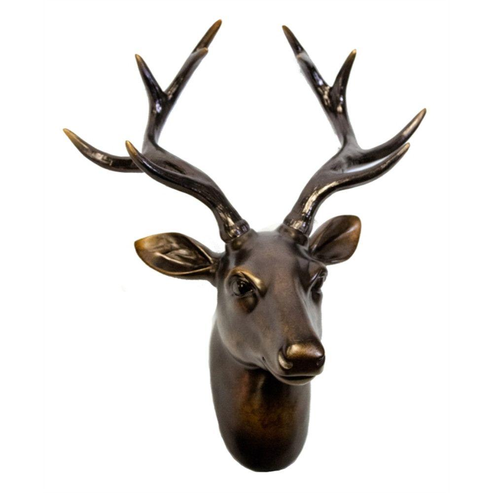 Wildly Intriguing Deer Head Wall Decor, Bronze