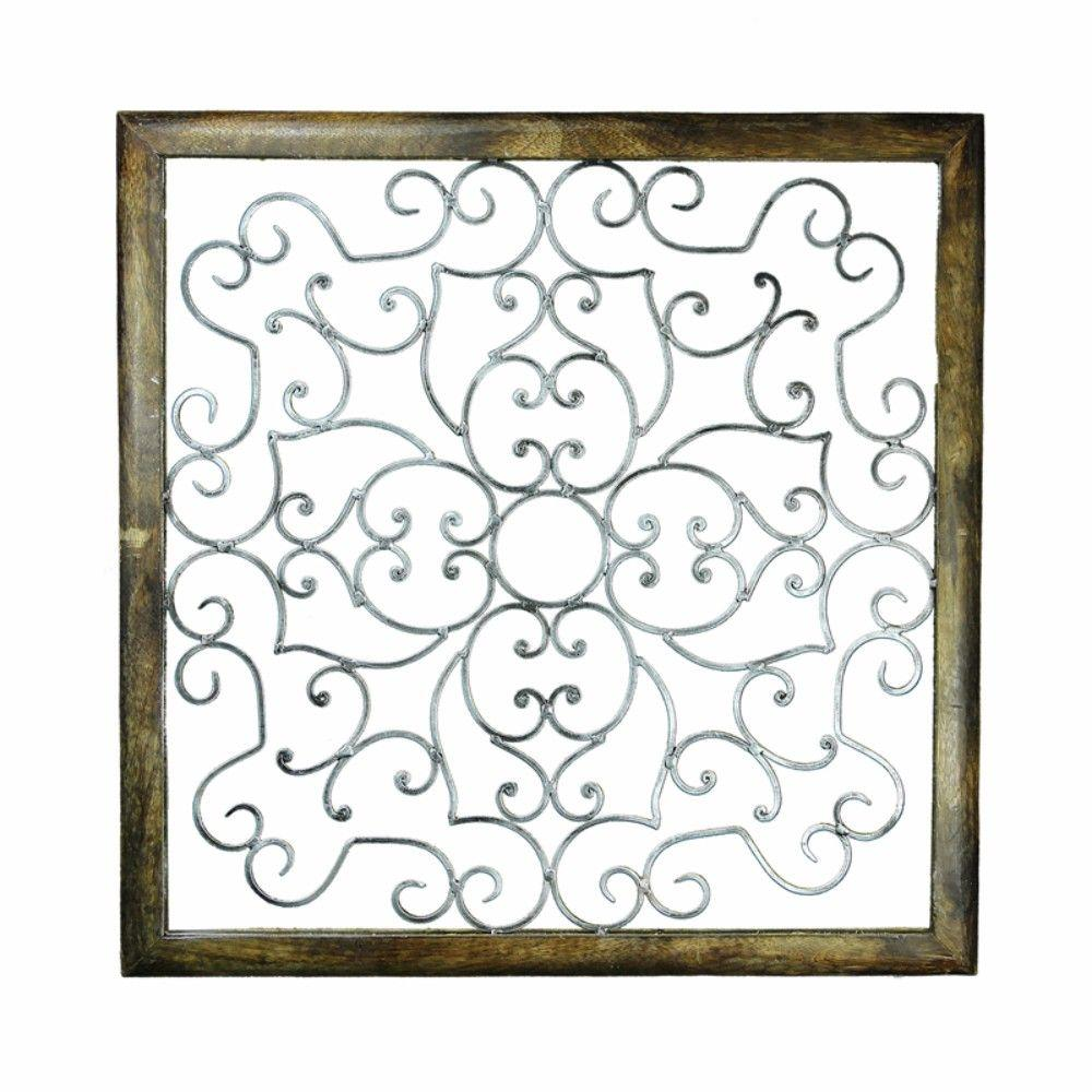Well-Made Wood And Iron Wall Decor, Brown And Silver