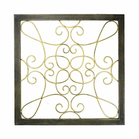 Quaint Wood And Iron Wall Decor, Black And Gold