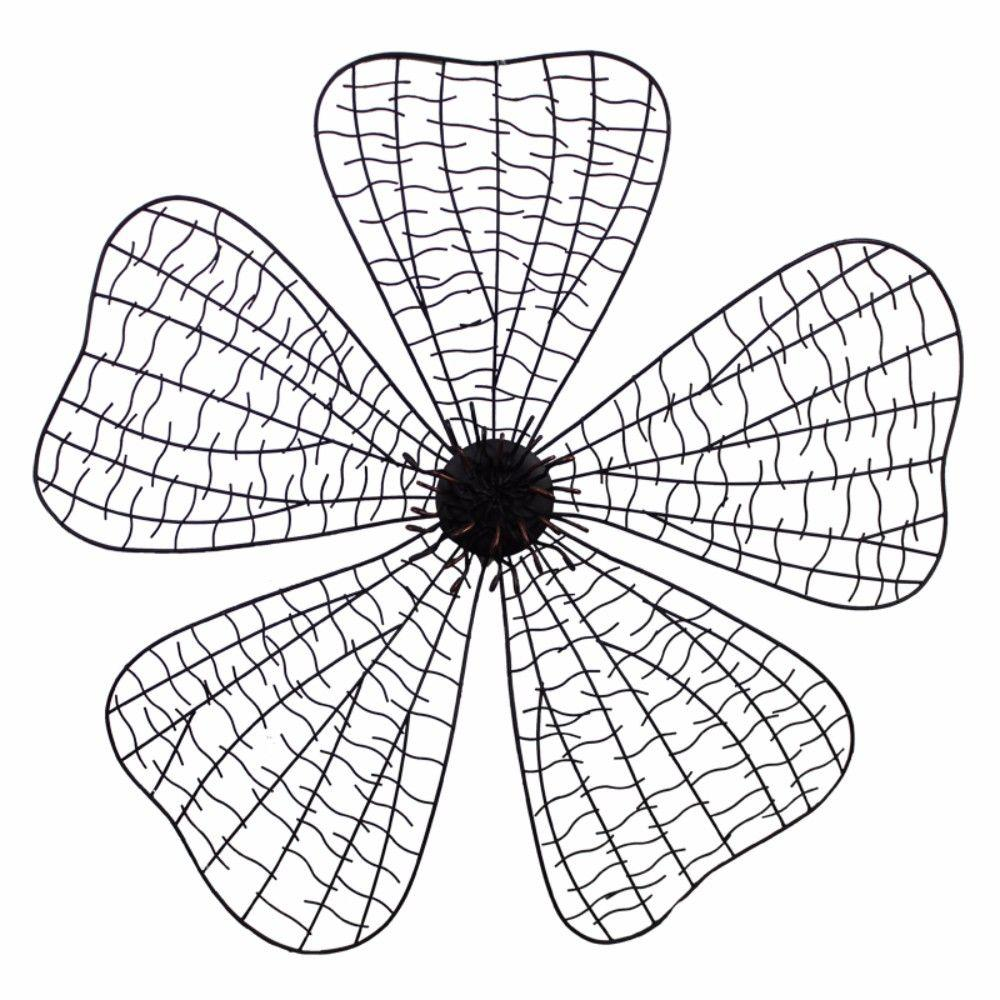 Five Petal Flower Wall Decor,Black