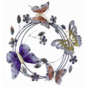 Multiple On Iron Circle Wall Decor - Metallic Multi Color
