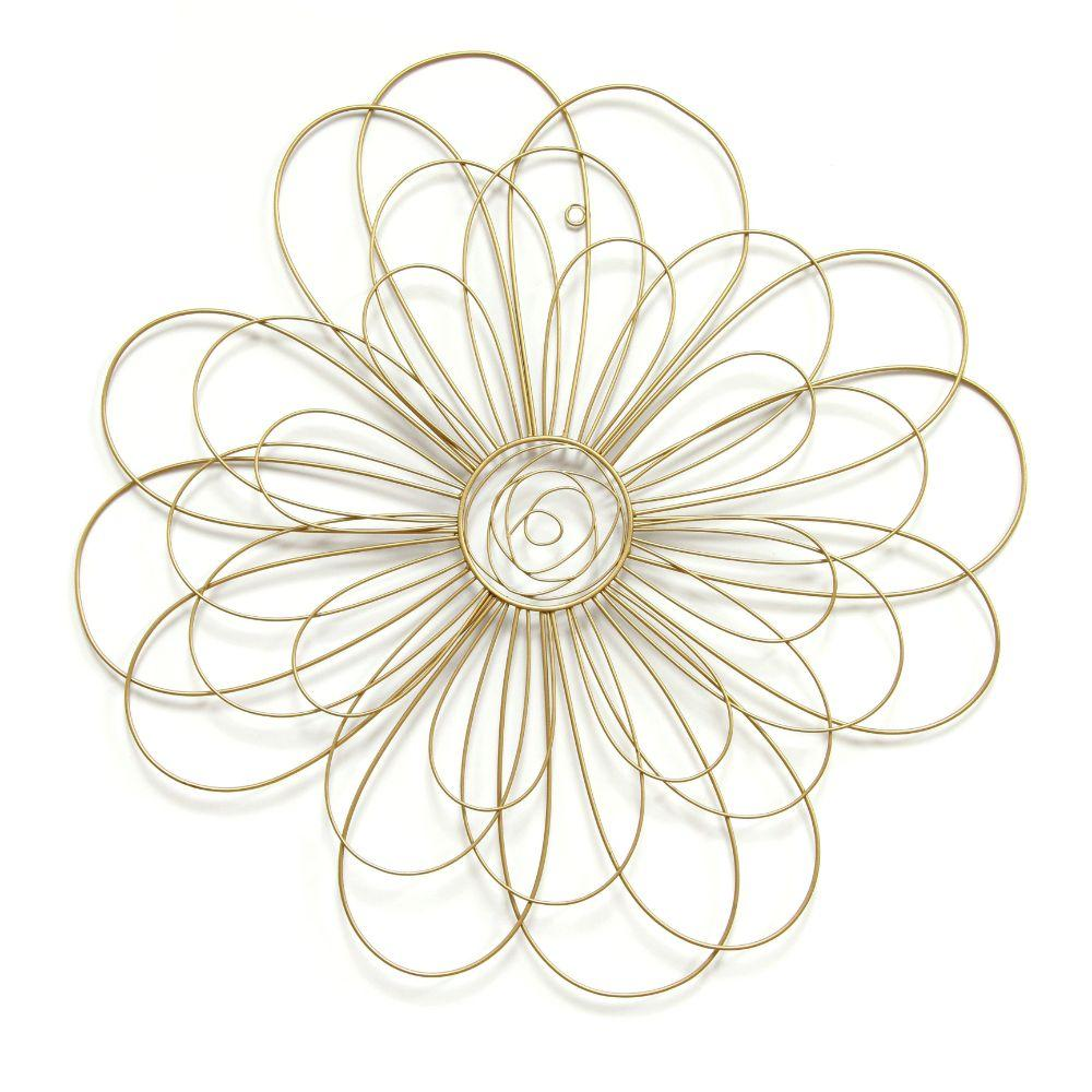 Gold Wire Flower Wall Deco (21.5 X 0.5 X 21.5 In)