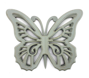 "4.25"" X 18.5"" X 23.25"" Gray Rustic Butterfly Wooden Wall Decor"