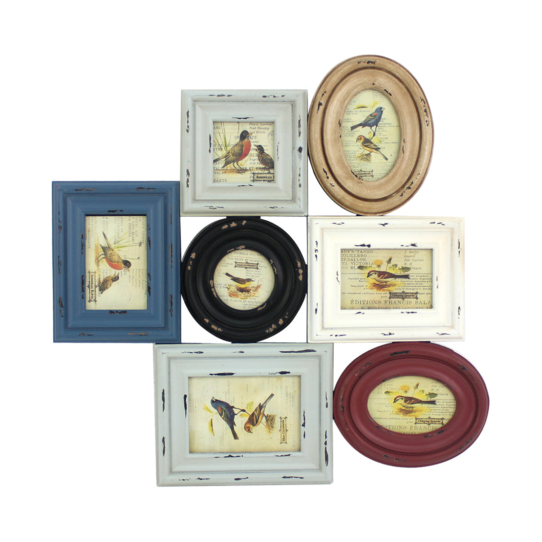 "25.2"" X 0.79"" X 25.59"" Multi-Color Vintage Wooden Photo Frame Wall Decor"