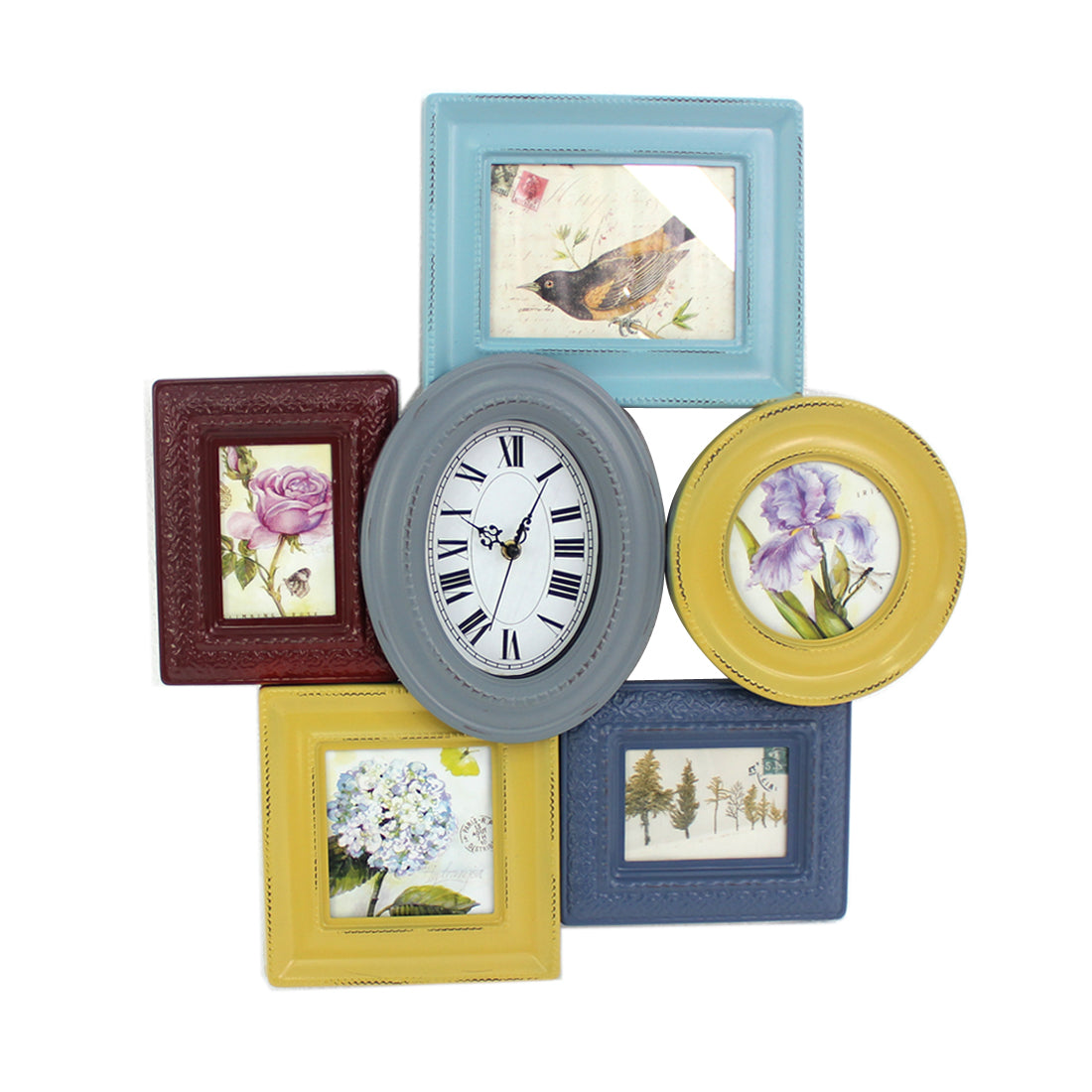 Multi-Color Vintage Wood Photo Frame & Clock Wall Decor