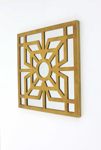 "23.25"" X 1.25"" X 23.25"" Bright Gold Modern Mirrored Wooden Wall Decor"