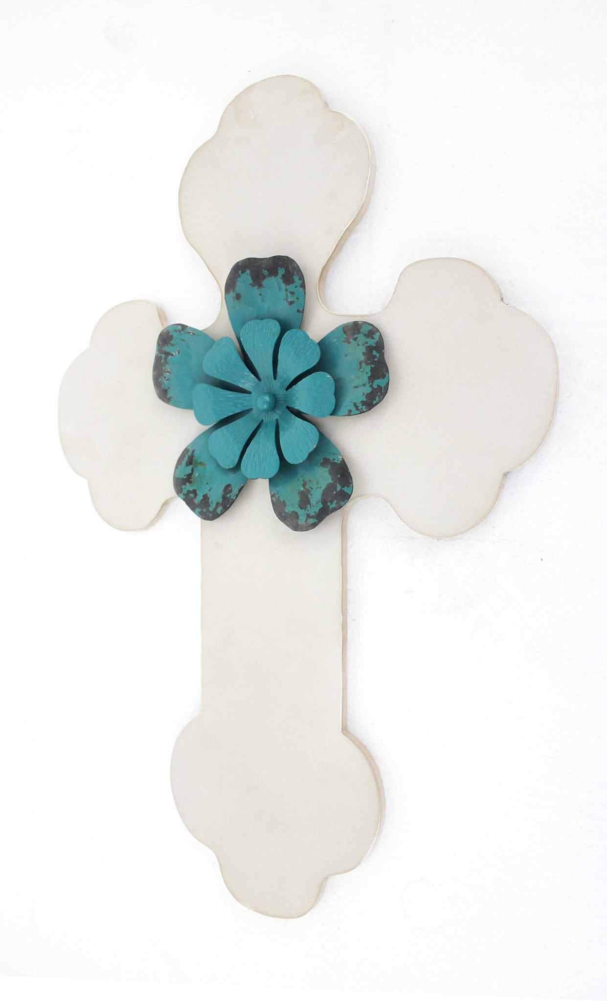 "23.75"" X 15.75"" White Rustic Cross Wooden Wall Decor"