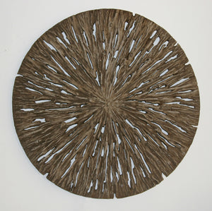 "14"" X 2"" Brown Round Rotten Wood Wall Decor"