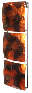 Vertical 3-Panel Metal Wall Decor - Copper, Brown And Gold Lacquered