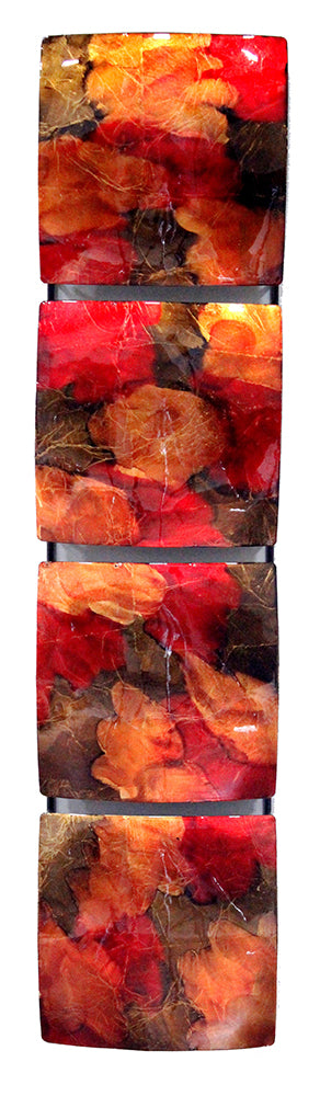 Vertical 4-Panel Metal Wall Decor - Copper, Red And Gold - Metal, Lacquered