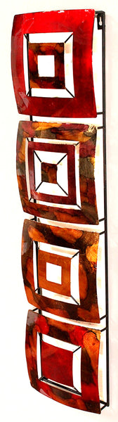 Vertical 4-Panel Metal Wall Decor - Metal, Lacquered In Gold, Red, Burgundy And Brown
