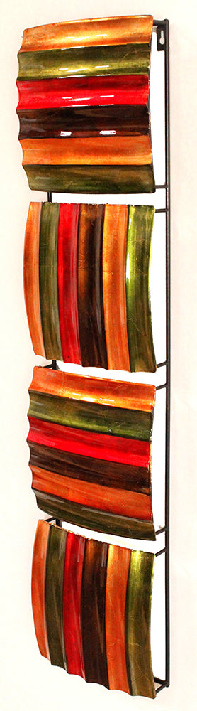 Vertical 4-Panel Metal Wall Decor - Metal, Lacquered In Green, Red, Copper And Bronze