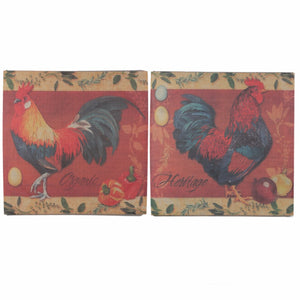 Burlap Wall Decor Rooster Design, Multicolor, Set Of 2