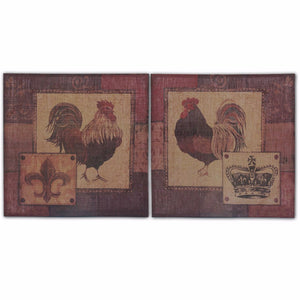 Burlap Rooster Wall Decor, Multicolor, Set Of 2