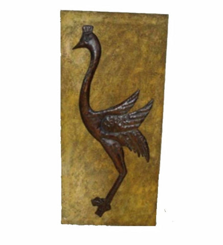 Metal Wall Decor With Ostrich, Yellow And Brown