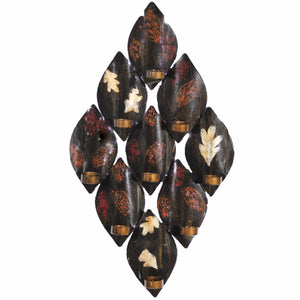 Antique Leaf-Print Wall Decor With Candle Holder, Brown