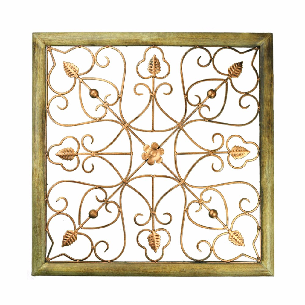 Classic Wood And Iron Wall Decor, Brown And Copper