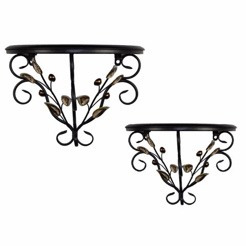 Traditional Metal Wall Decor,Brown,Set Of 2