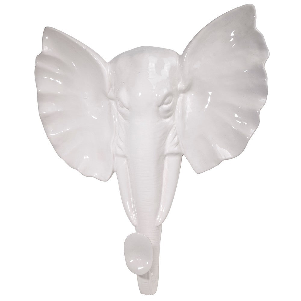 Rock Based Elephant Wall Decor, White