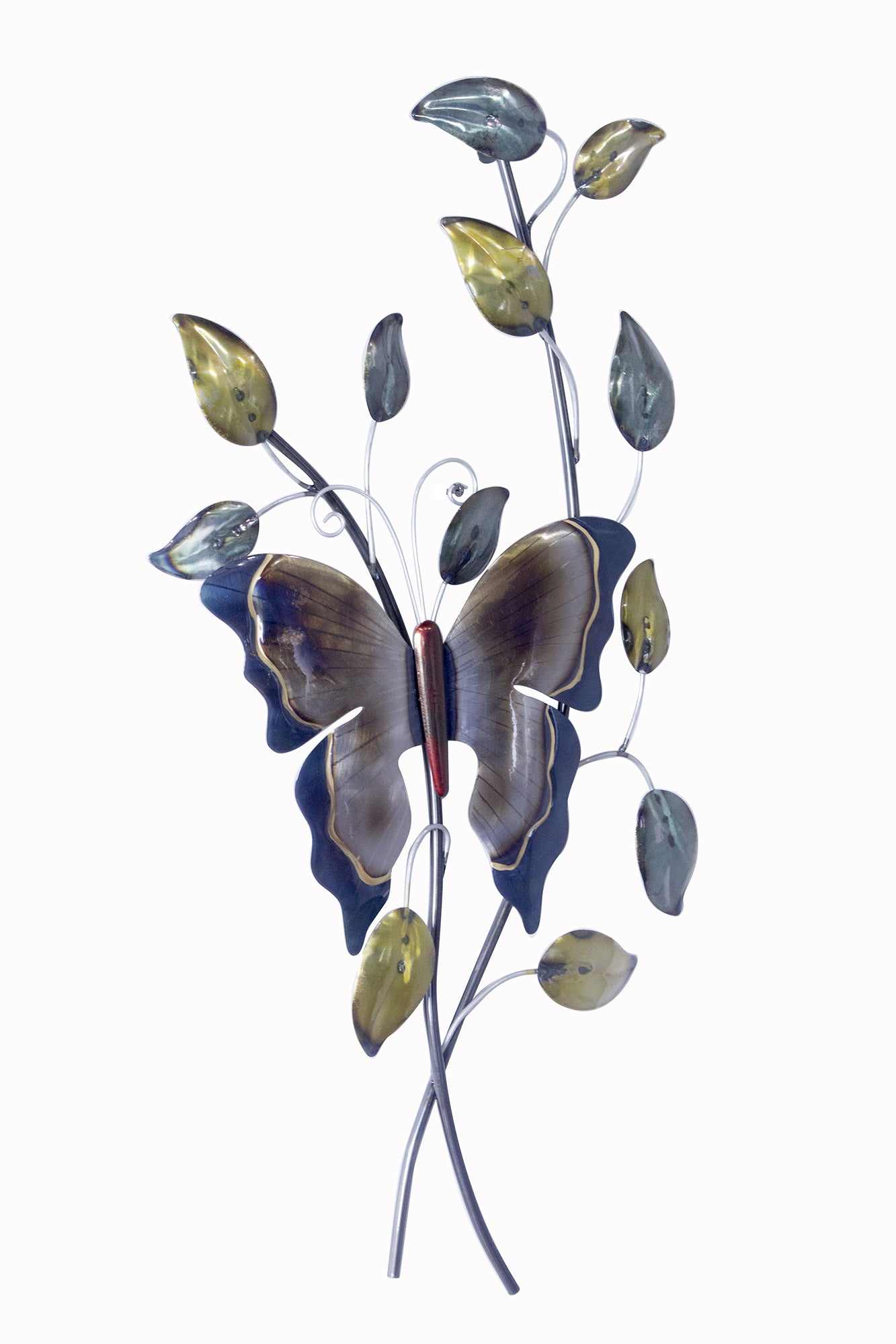 Large Butterfly On Branches Wall Decor - Metallic Multi Color