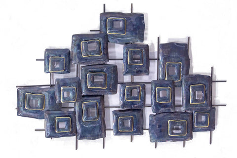 Clustered Squares Wall Decor - Metallic Multi Color