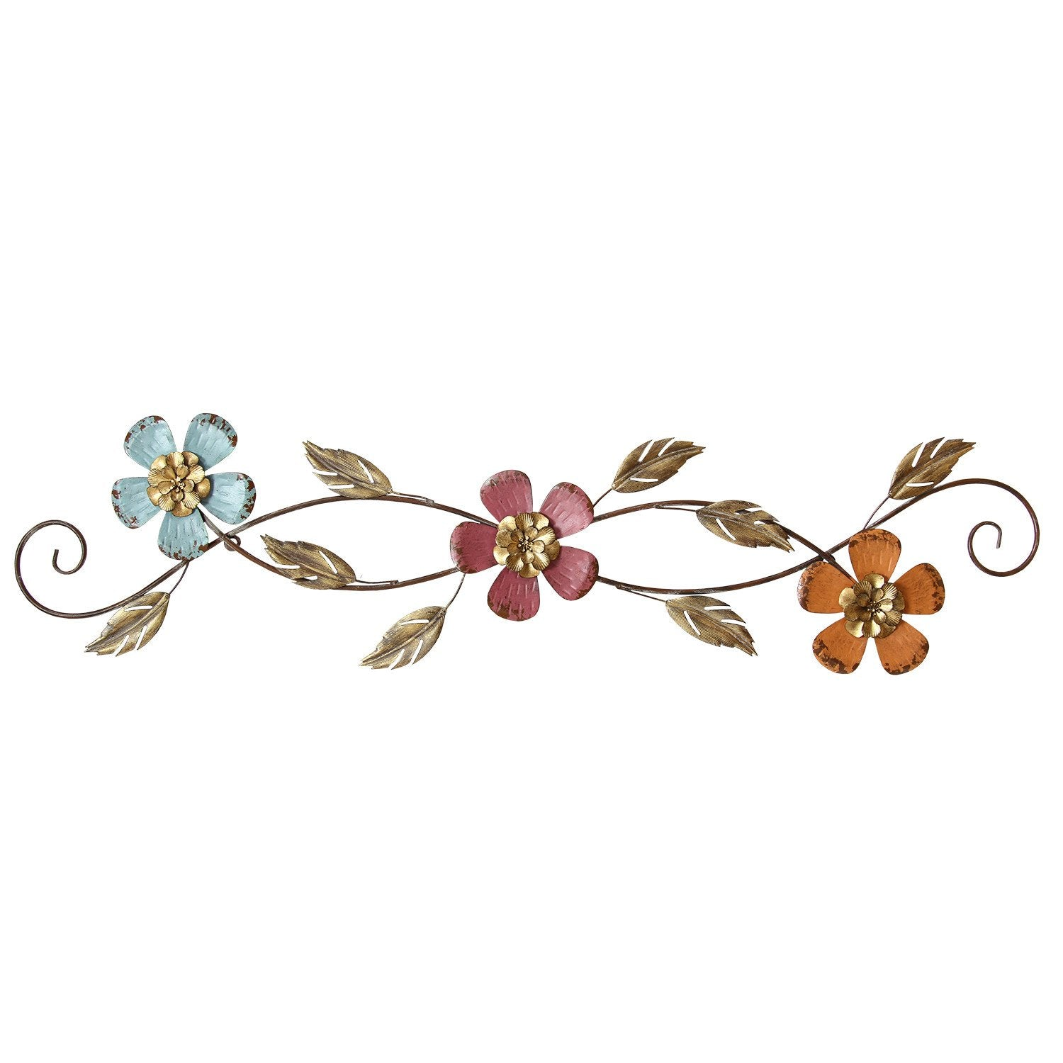 "40"" X 0.75"" X 10"" Multi-color Floral Scroll Wall Decor"