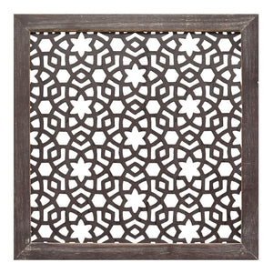 "16"" X 1"" X 16"" 1Pc Espresso Wood Framed Laser-Cut Wall Decor"