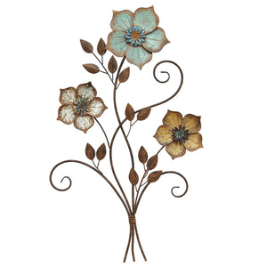 "19.25"" X 1.5"" X 30"" Tricolor Flower Wall Decor"