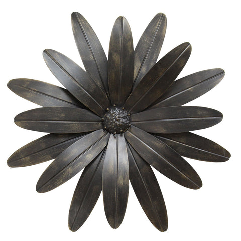 "18"" x 1.25"" X 18"" Black Industrial Flower Wall Decor"