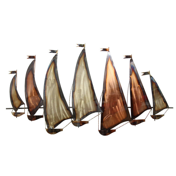 Nautical Theme Metal Sunset Sailboat  Wall Decor