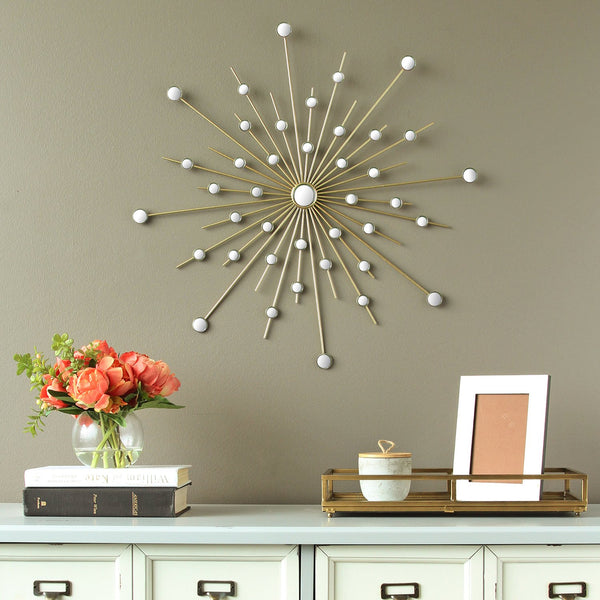 "24"" X 0.5"" X 24"" Gold Sparkle Mirror Burst Wall Decor"