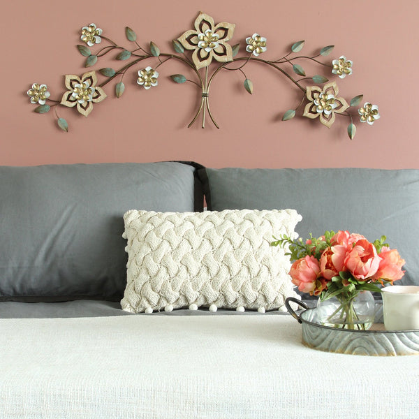 "43.5"" X 1.25"" X 14.5"" Wood Flower Over The Door Wall Decor"