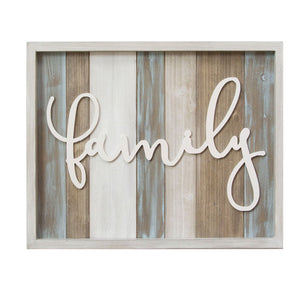 "20"" X 1"" X 16"" Rustic ""Family"" Wood Wall Decor"