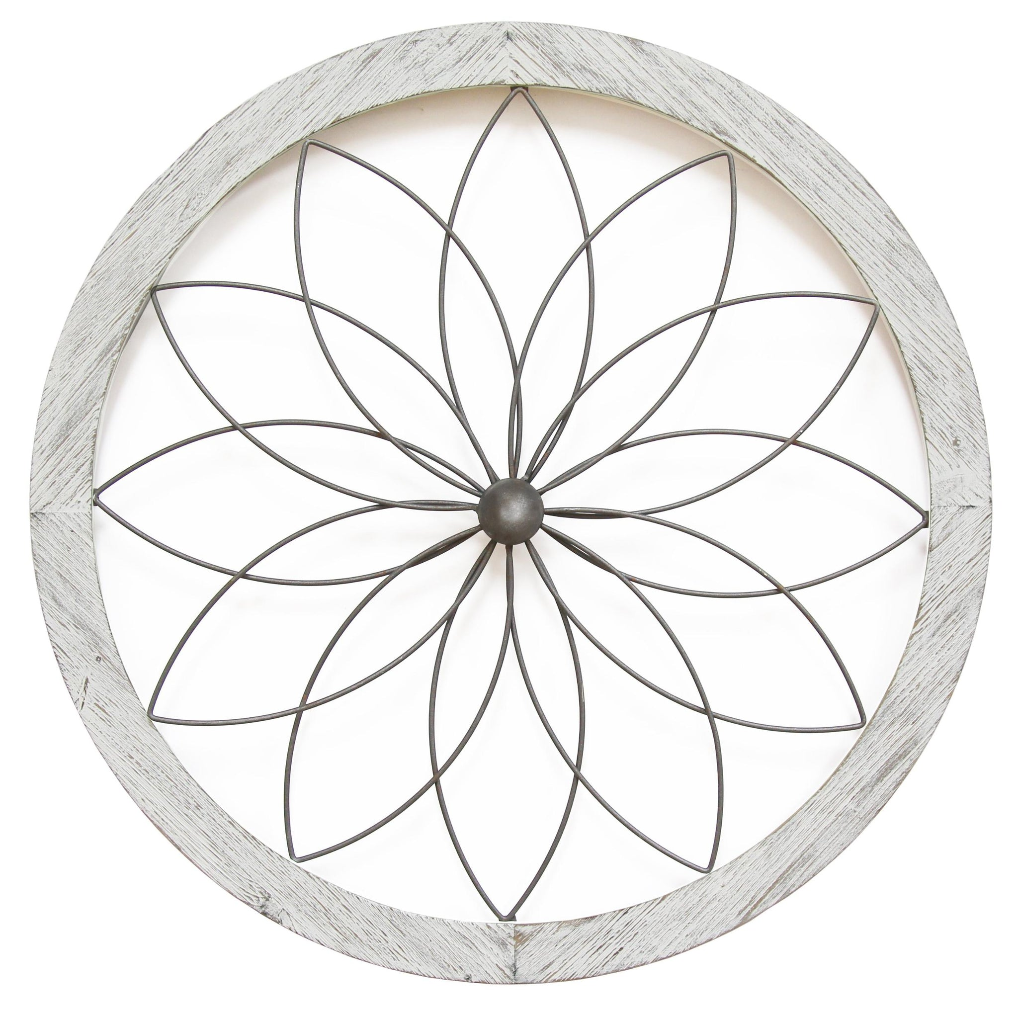 White Flower Metal And Wood Art Deco Wall Decor