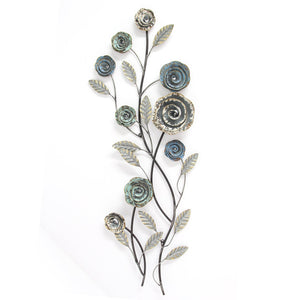 "11.61"" X 1.97"" X 32.87"" Distressed Blue Blossoming Buds Wall Decor"