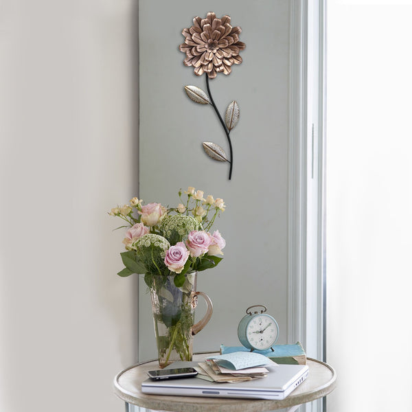 "8.66"" X 0.98"" X 21.46"" Pink and Green Romantic Flower Stem Wall Decor"