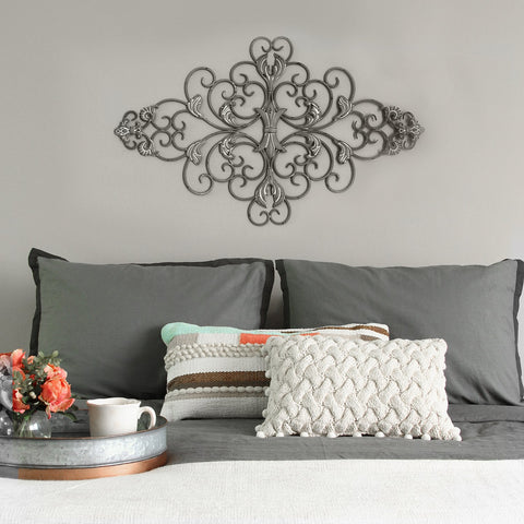 Distressed Gray Scroll Wall Decor
