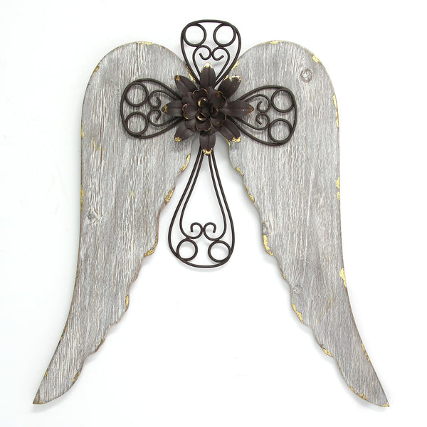 Distressed White Angel Wings With Cross Wall Decor