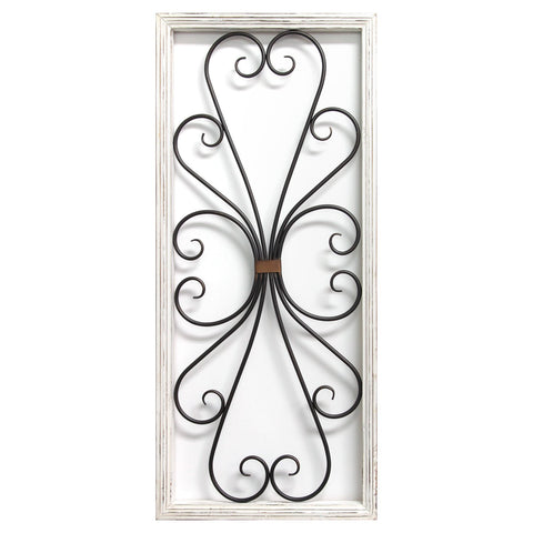 "14"" X 1.25"" X 32"" Distressed White Scroll Panel Wall Decor"