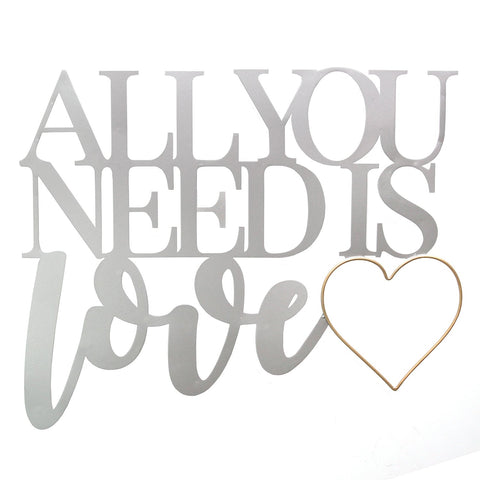 "18.25"" X 0.5"" X 15"" Silver and Gold All You Need Is Love Metal Word Wall Decor"